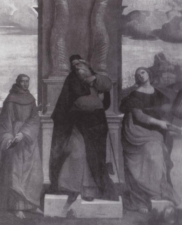 Fig. 5, Ippolito Scarsella detto Scarsellino (copia da Garofalo), Sant'Antonio Abate fra i santi Antonio da Padova e Cecilia, 1608 ca., Firenze, collezione privata