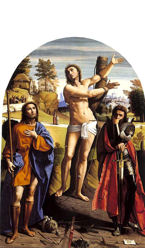 Fig. 8, Giovanni Battista Benvenuti detto Ortolano, I santi Sebastiano, Rocco e Demetrio, 1520 ca., Londra, National Gallery