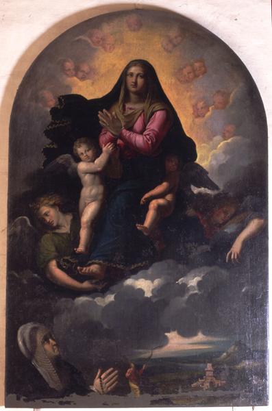 Fig. 4, Ippolito Scarsella detto Scarsellino (copia da Girolamo da Carpi), Madonna col Bambino e angeli che appare a Giulia Muzzarelli, 1608 ca., Ferrara, San Francesco, sesta cappella a sinistra