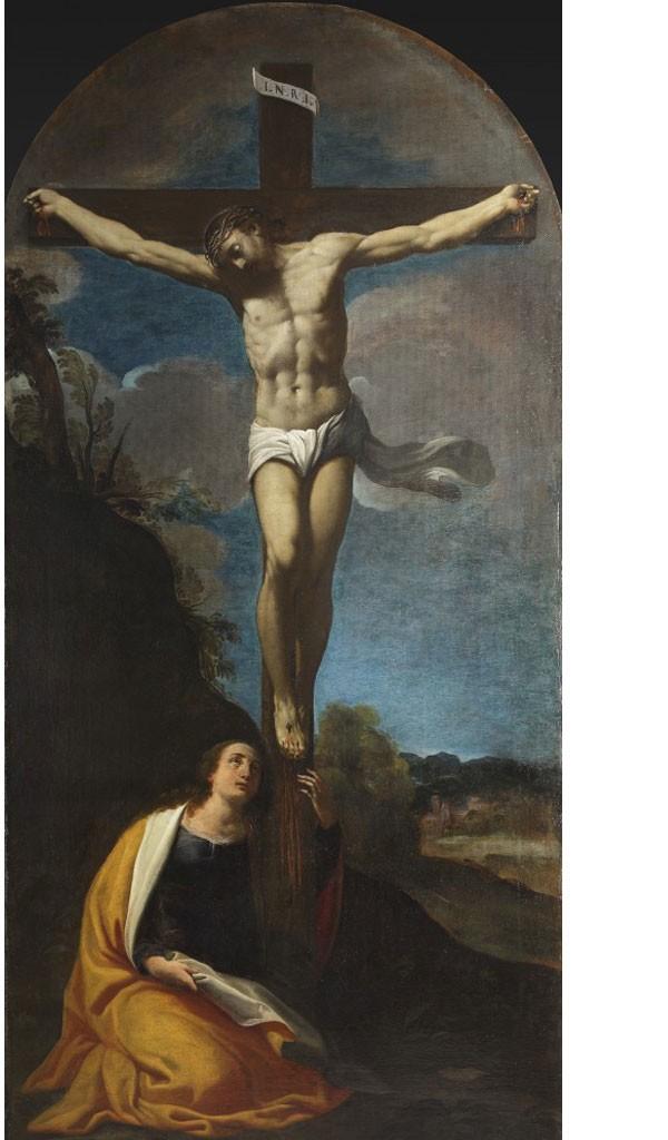 Fig. 13, Carlo Bononi, Crocifissione, 1616 ca., Ferrara, chiesa delle Sacre Stimmate, secondo altare a sinistra (in deposito presso Palazzo Arcivescovile)