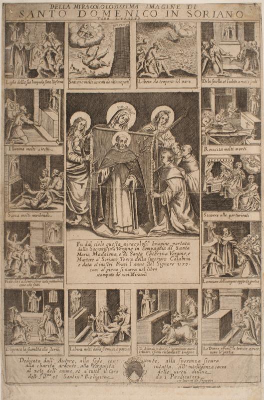 Fig. 11, Anonimo, Miracoli di san Domenico a Soriano Calabro, incisione, Milano, Civica Raccolta Bertarelli a Milano