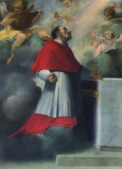Fig. 12, Carlo Bononi, San Carlo Borromeo in estasi, 1611, Ferrara, chiesa della Madonnina (in deposito presso Musei Civici di Arte Antica)