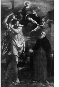 Fig. 17, Carlo Bononi, Madonna col Bambino tra le nubi e i santi Sebastiano e Antonio Abate, 1625 ca., Bologna, Museo di San Giuseppe