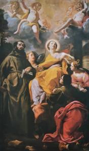 Fig. 19, Carlo Bononi, Santa Margherita d'Antiochia e i santi Francesco, Giovanni evangelista e Lucia, 1627, Reggio Emilia, Museo Diocesano