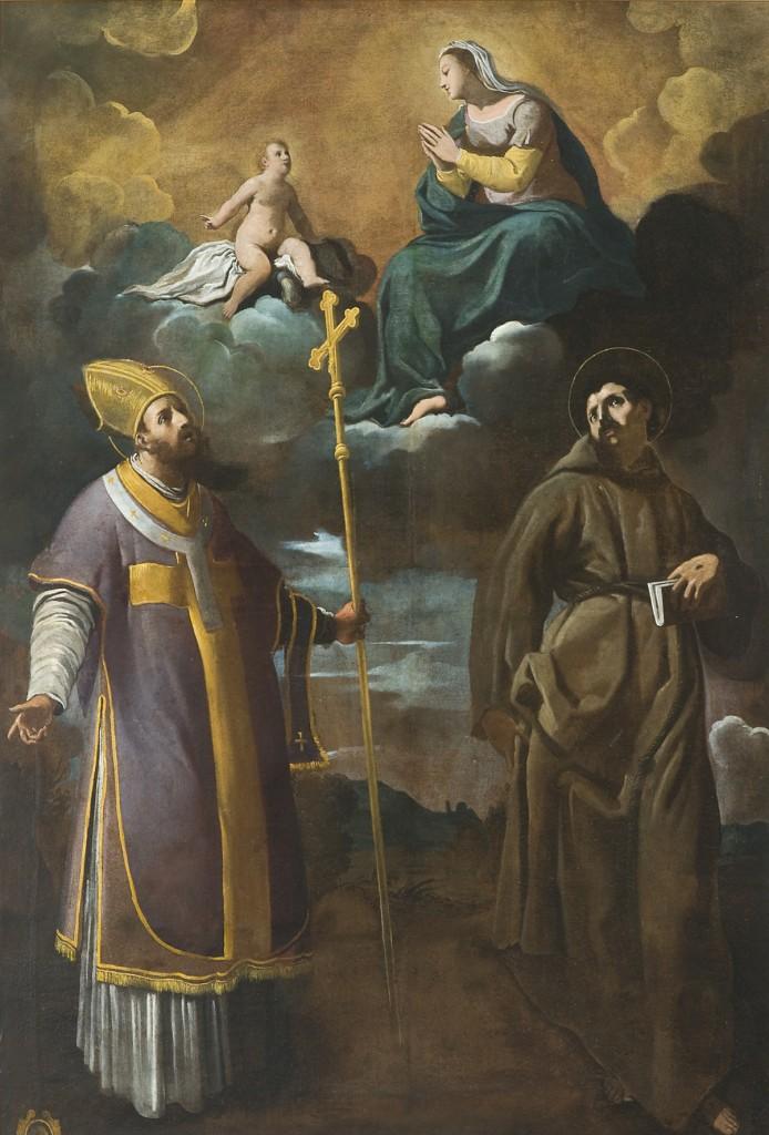 Fig. 18, Carlo Bononi, Madonna di Reggio con i santi Vincenzo e Francesco, 1627 ca., Ferrara, Seminario Arcivescovile