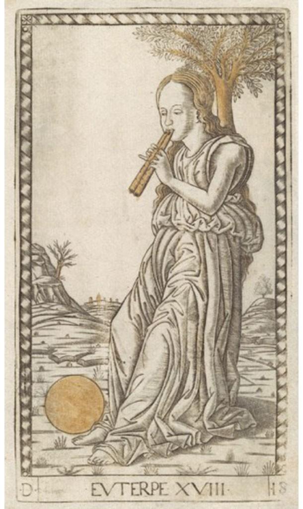 Fig. 4, Maestro E (Gherardo di Andrea Fiorini da Vicenza?), Euterpe, circa 1465, incisione, Hamburg, Hamburger Kunsthalle, Kupferstichkabinett (dai cosiddetti 'Tarocchi del Mantegna')