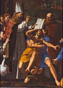 Fig. 14, Lucio Massari, Sant'Antelmo resuscita un uomo morso da una serpe, 1620-25, Ferrara, San Cristoforo della Certosa, particolare