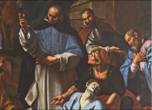 Fig. 15, Lucio Massari, Sant'Antelmo resuscita un uomo morso da una serpe, 1620-25, Ferrara, San Cristoforo della Certosa, particolare