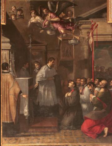 Fig. 21, Antonio Randa, Il beato Riniero alla tomba di San Giminiano, 1626-1627, Bologna, Oratorio di Santa Maria della Vita