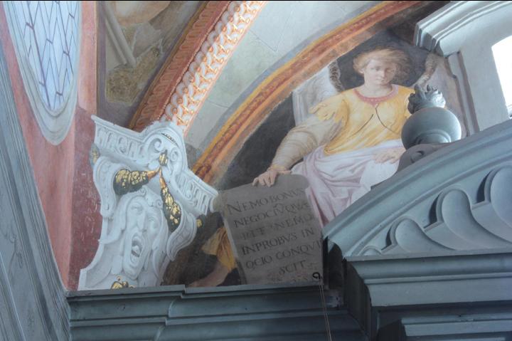 Fig. 25, Antonio Randa e aiuti, decorazione della cappella di San Bruno, 1638, Firenze, Certosa del Galluzzo, particolare