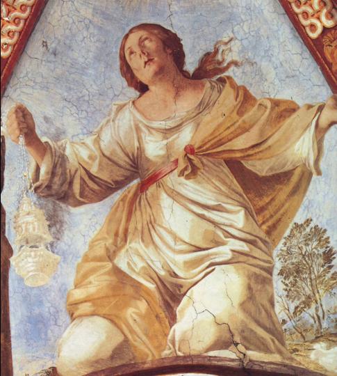 Fig. 26, Antonio Randa, Figura allegorica, 1638, Firenze, Certosa del Galluzzo, cappella di San Bruno, particolare