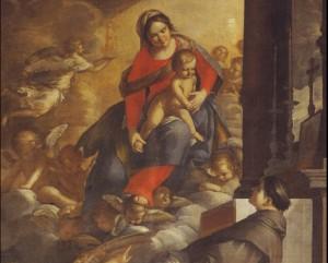 Fig. 31, Antonio Randa, Madonna del Suffragio e sant'Antonio, dopo il 1644, Comacchio, oratorio del Suffragio, particolare