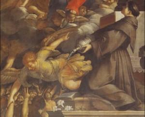 Fig. 32, Antonio Randa, Madonna del Suffragio e sant'Antonio, dopo il 1644, Comacchio, oratorio del Suffragio, particolare