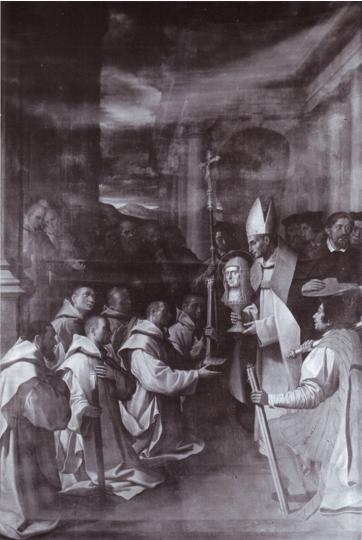Fig. 6, Bartolomeo Cesi, Il beato Nicolò Albergati mostra il reliquiario col capo di Sant'Anna, 1620, Ferrara, San Cristoforo della Certosa