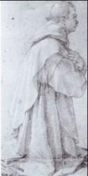 Fig. 7, Bartolomeo Cesi, Studio per un certosino inginocchiato, 1620, Genova, Galleria di Palazzo Rosso, Gabinetto dei Disegni e delle Stampe, inv. D 2053