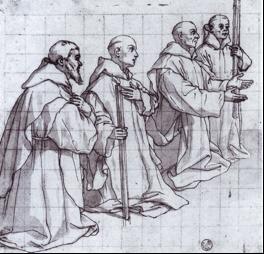 Fig. 8, Bartolomeo Cesi, Studio per certosini inginocchiati, 1620, Genova, Galleria di Palazzo Rosso, Gabinetto dei Disegni e delle Stampe, inv. 20108 F