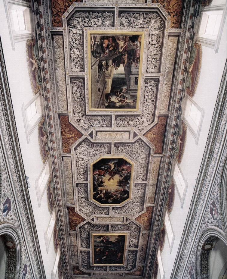 Fig. 2, Carlo Bononi, Storie della Vergine, 1617-20, Ferrara, Santa Maria in Vado, soffitto della navata