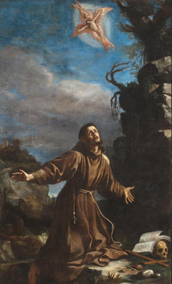 Fig. 12, Giovanni Francesco Barbieri detto Guercino, San Francesco riceve le stimmate, Ferrara, 1632, Ferrara, chiesa delle Sacre Stimmate