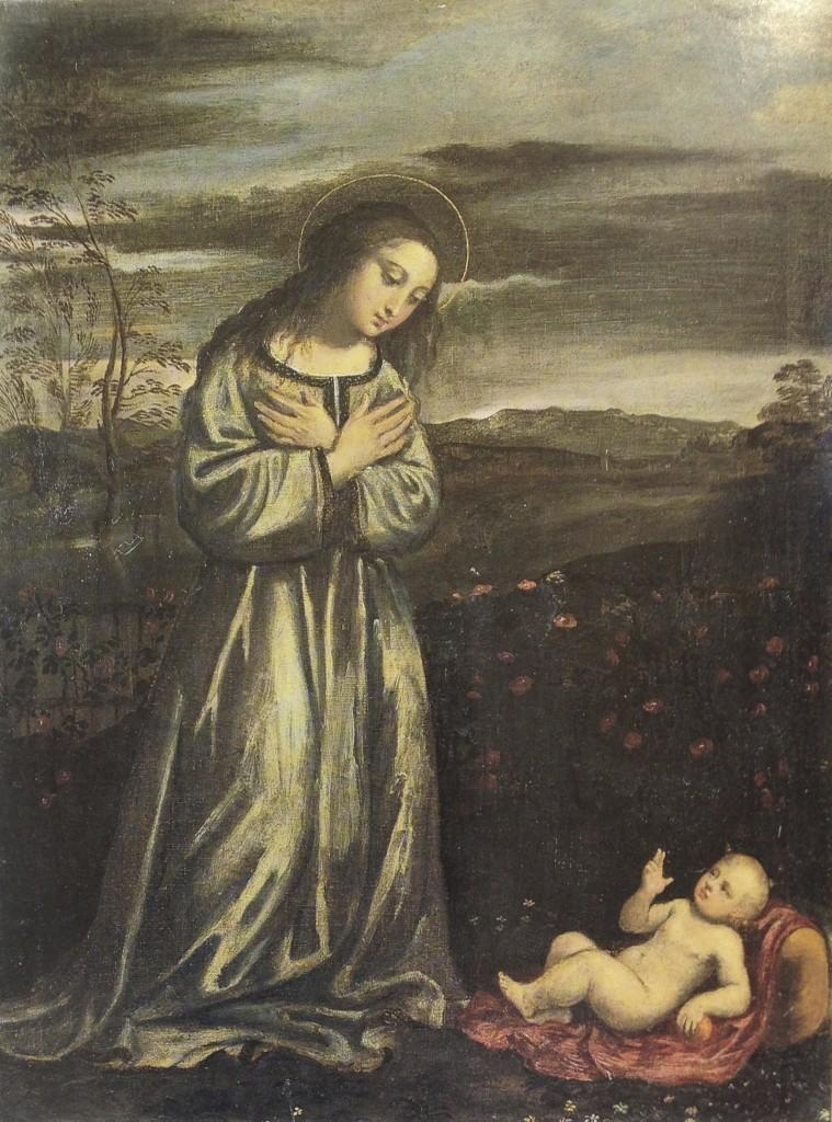 Fig. 14, Ippolito Scarsella detto Scarsellino (copia da Francesco Francia), Madonna delle rose, datazione incerta, Venezia, collezione privata