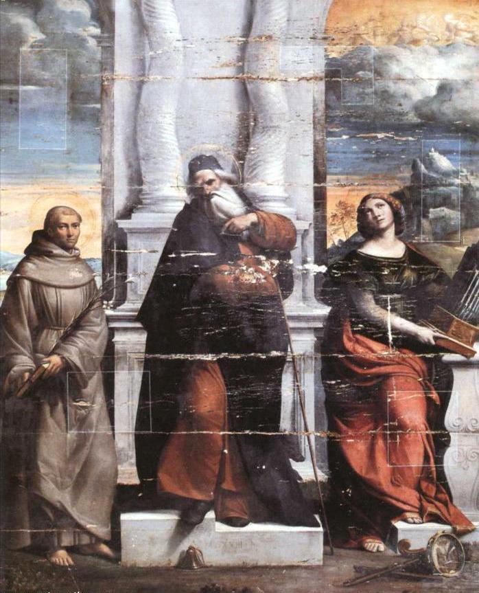 Fig. 6, Benvenuto Tisi detto Garofalo, Sant'Antonio Abate fra i santi Antonio da Padova e Cecilia, 1523, Roma, Galleria Nazionale di Palazzo Barnerini