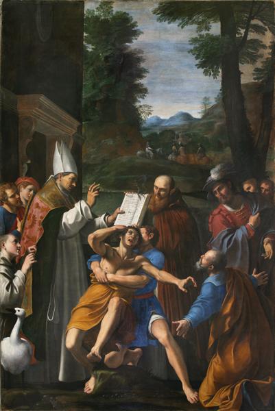 Fig. 10, Lucio Massari, Sant'Ugo vescovo di Lincoln libera un indemoniato, 1620-25, Ferrara, San Cristoforo della Certosa