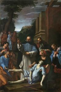 Fig. 11, Lucio Massari, Sant'Antelmo resuscita un uomo morso da una serpe, 1620-25, Ferrara, San Cristoforo della Certosa