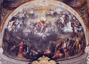 Fig. 9, Carlo Bononi, Esaltazione del nome di Gesù, 16016-20, Ferrara, Santa Maria in Vado, catino absidale