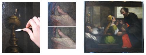 Durante il restauro (a sinistra e al centro), dopo il restauro (a destra)