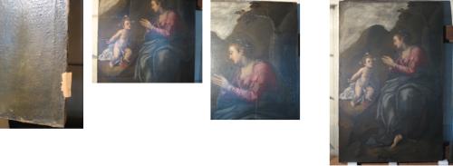 Prima del restauro (a sinistra e al centro), dopo il restauro (a destra)