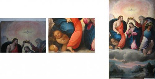 Prima e durante il restauro (a sinistra e al centro), dopo il restauro (a destra)