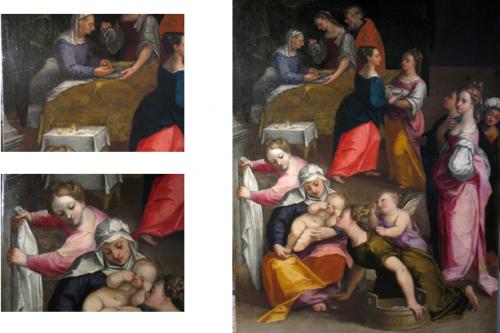 Prima del restauro (a sinistra), dopo il restauro (a destra)