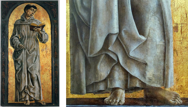 Fig.13, Cosmè Tura, Sant'Antonio da Padova, Parigi, Musée du Louvre, a destra dettaglio