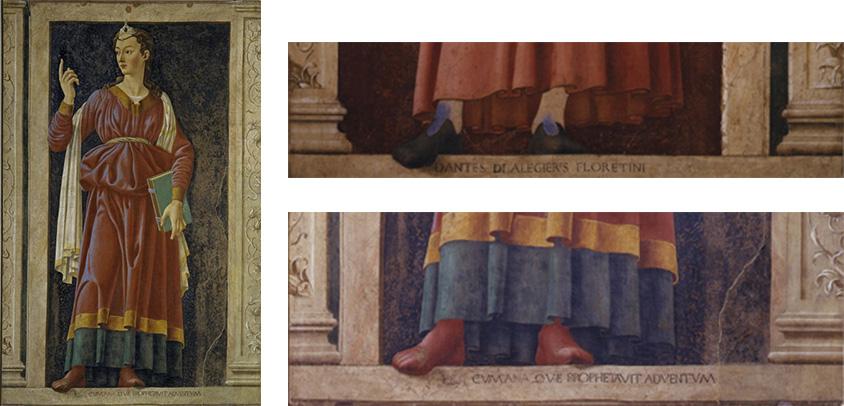 Fig. 16, Andrea del Castagno, Sibilla Cumana (a sinistra e in lato a destra), Dante Alighieri (particolare, in basso a destra), Firenze, Uffizi