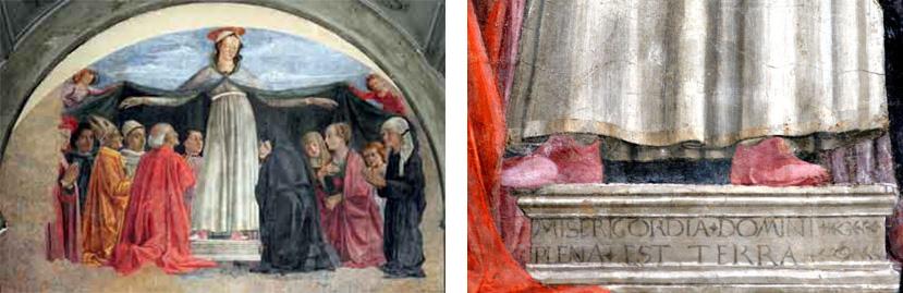 Fig. 25, Domenico Ghirandaio, Madonna della Misericordia, Firenze, Ognissanti, a destra particolare