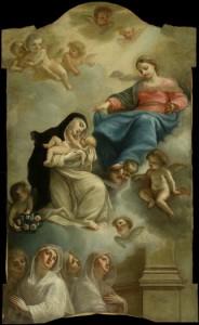 Fig. 5, Francesco Pellegrini, Madonna che consegna il Bambino a santa Rosa da Lima al cospetto delle Zitelle, 1759 ca., Ferrara, Musei di Arte Antica, collezione Orfanotrofi