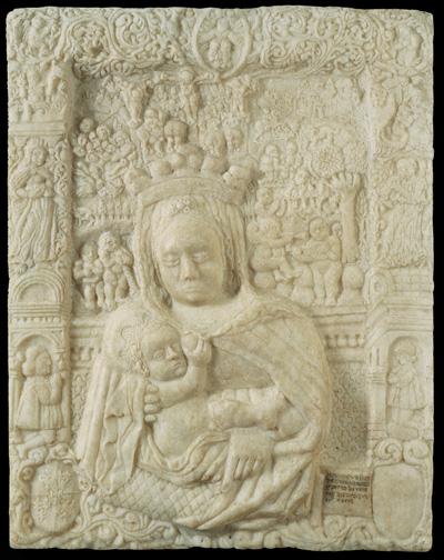 Fig. 1, Antonio di Pietro da Venezia, Madonna col Bambino, circa 1465 circa-1471, marmo, 67,5 × 53 cm, Ferrara, Museo della Cattedrale, inv. MC038