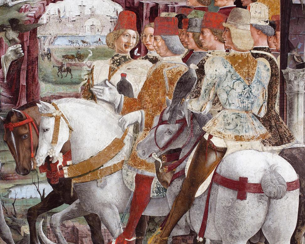 Fig. 20, Francesco del Cossa, Borso d'Este e Teofilo Calcagnini, 1469 circa, Ferrara, Palazzo Schifanoia, Salone dei Mesi, particolare di Marzo