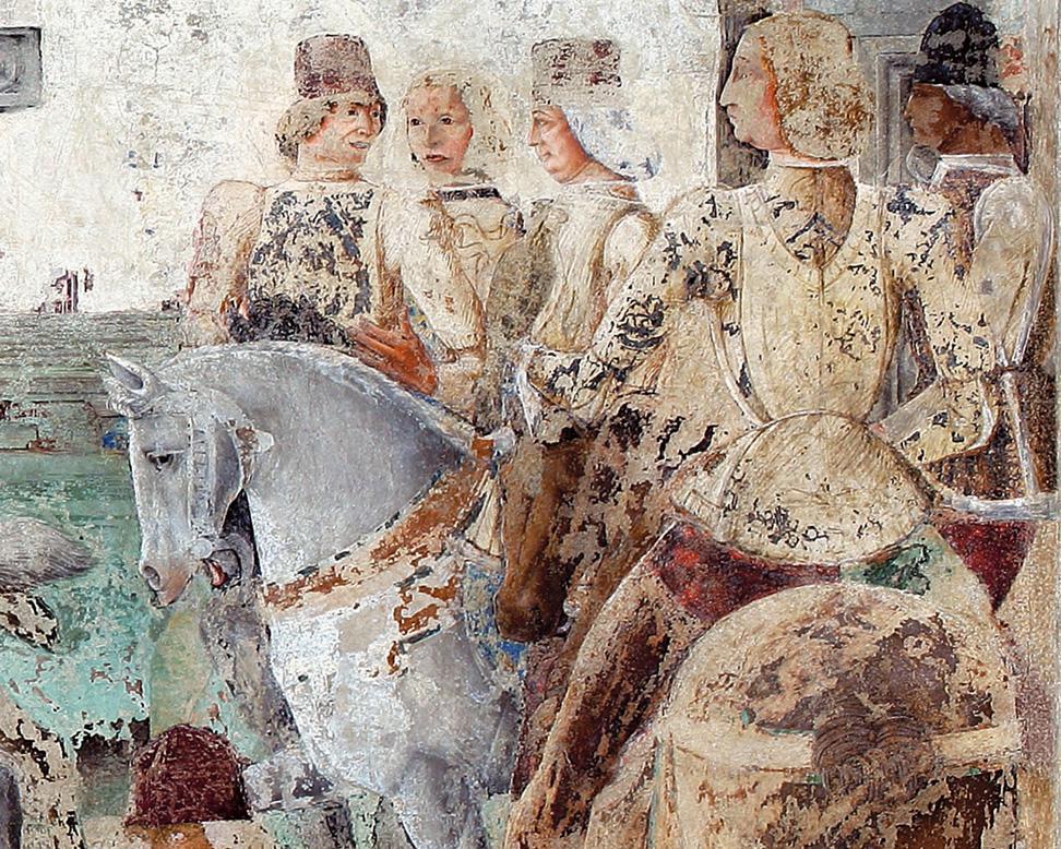Fig. 22, Maestro degli occhi spalancati (bottega), Borso d'Este e Teofilo Calcagnini, 1469 circa, Ferrara, Palazzo Schifanoia, Salone dei Mesi, particolare di Luglio