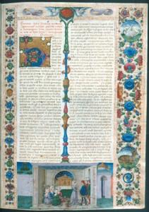 Fig. 24, Taddeo Crivelli, Giornata 1, Boccaccio, Decameron, prima del 1467, Oxford, Bodleian Library, ms. Holkham misc. 49, c. 5r