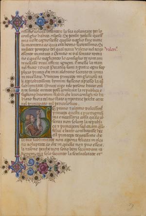 Fig. 3, T. Crivelli, Borso d'Este in adorazione del crocifisso, in Tommaso dai Liuti, Trattato del modo di ben governare, 1465 ca., Milano, Biblioteca Trivulziana, 86, c. 23r