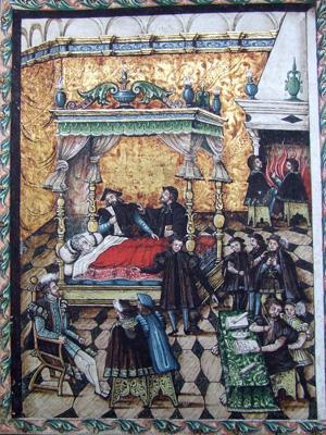 Fig. 1, Anonimo artista ferrarese, Alfonso I d'Este sul letto di morte