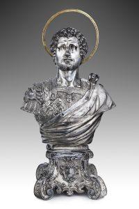 Argentiere milanese e Zanobio Troni, Busto di san Giorgio, busto 1600 ca., basamento 1726, Ferrara, Museo della Cattedrale, inv. MC097