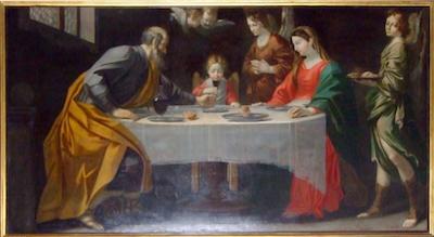 Fig. 1, Antonio Randa, Sacra Famiglia servita dagli angeli, 1614-22, Milano, quadreria dell'Arcivescovado, deposito della Pinacoteca di Brera, già convento dei Cappuccini, Concordia sulla Secchia (Mo)
