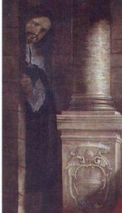 """Fig. 2, Antonio Randa, Glorificazione del podestà Pietro Morosini, 1644, particolare con l'autoritratto dell'artista, Rovigo, Santa Maria del Soccorso (la """"Rotonda"""")"""