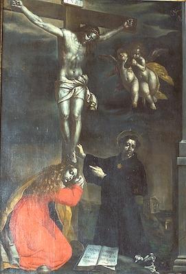 Fig. 3, Antonio Randa, Crocifissione con Santa Maria Maddalena e San Nicola da Tolentino, post 1644, Comacchio, Oratorio del Suffragio delle anime purganti e di Sant'Antonio