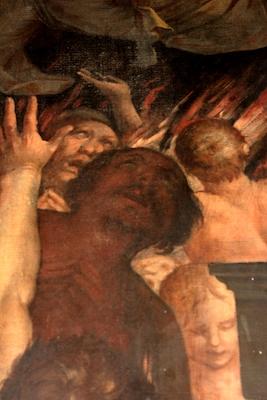 Fig. 5, particolare di fig. 4, autoritratto dell'artista