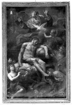 Fig. 9, Antonio Gherardi, Cristo in pietà sorretto da angeli, seconda metà del XVII secolo, Ferrara, Sant'Antonio Abate in Polesine, clausura