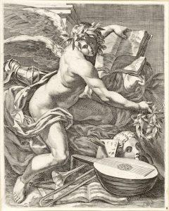 Fig. 3, Anonimo (da C. Bononi), Genio delle arti, XVII sec., Amsterdam, Rijskmuseum, inv. RP-P-H-H-900 (foto Museo)