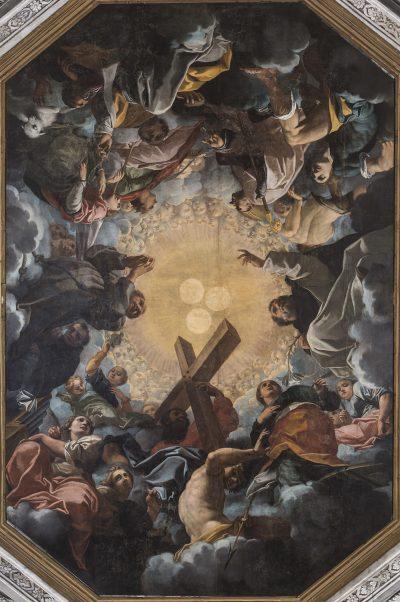 Fig. 2, Carlo Bononi, La Santissima Trinità adorata dai beati, 1616-17, Ferrara, Santa Maria in Vado, navata.