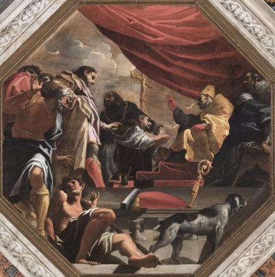 Fig. 5, Carlo Bononi, Assoluzione del prete incredulo, 1616-17, Ferrara, Santa Maria in Vado, transetto.